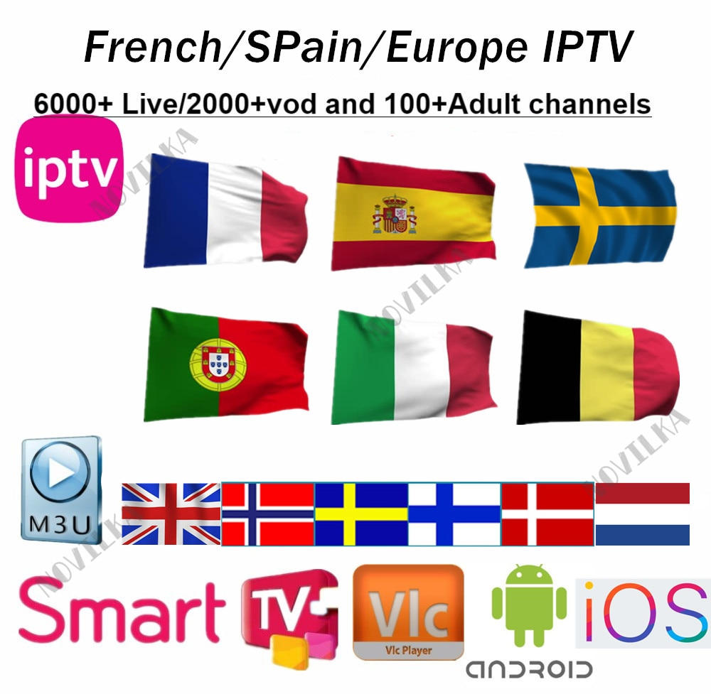Europe IPTV France UK German Arabic Belgium Sweden French Poland Spain USA  Canada Dutch smart TV Box IPTV M3U 6000+ Live