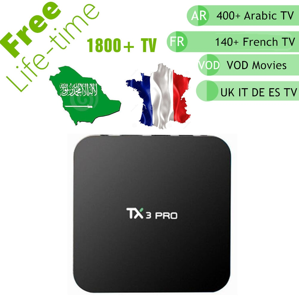 Free IPTV TX3 Mini Android 7 1 Smart TV Box Arabic French Belgium UK  English IPTV 1900+ Channels Life time Free Better Great Bee