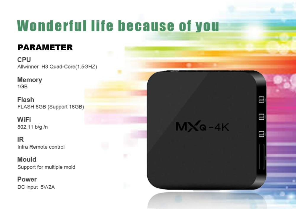 MXQ-4K Smart TV Box Android 7 1 Allwinner H3 Quad Core 1GB 8GB H  265 4k  Media Player 2 4Ghz Wifi 100M LAN 3D Set Top box PK R69