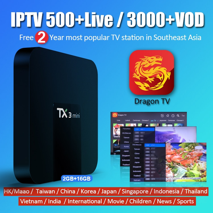 TX3 Mini 2G 16G Smart Android TV Box and 2 Years Free IPTV